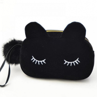 Suède-make-up-etui-kattenoortjes-zwart