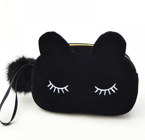 Suède-make-up-etui-kattenoortjes-zwart