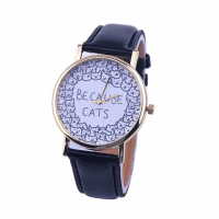 katten-horloge-because-cats-zwart
