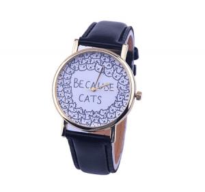 katten-horloge-because-cats-zwart