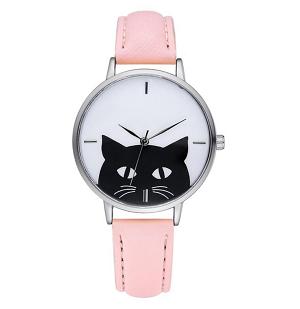 katten-horloge-black-cat-zilver-roze