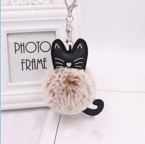 katten-sleutelhanger-pompom-beige