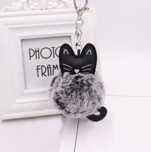 katten-sleutelhanger-pompom-grijs