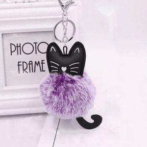 katten-sleutelhanger-pompom-paars
