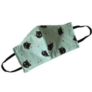 mondkapje-kattenprint-groen