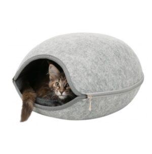 Kattenmand Luna met rits grijs 4