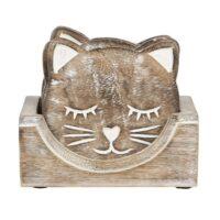 Kattenonderzetters hout set van 6 met houder 1