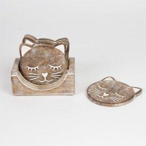 Kattenonderzetters hout set van 6 met houder 2