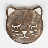 Kattenonderzetters hout set van 6 met houder 3