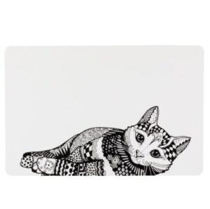 Placemat met kattenprint zwartwit 1