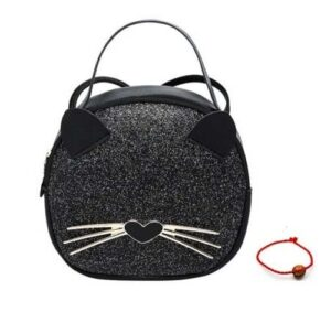 Schoudertas-kattenprint-zwart