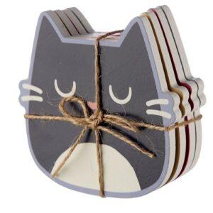 Katten onderzetters feline fine set van 4