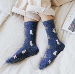 Warme katten sokken met print