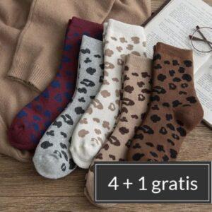 katten sokken met leopard print | 5 varianten