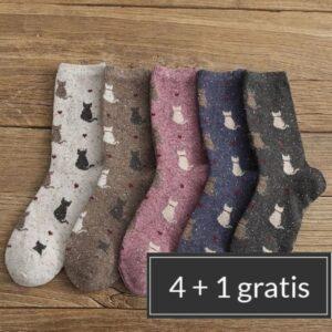 warme katten sokken met print | 5 varianten